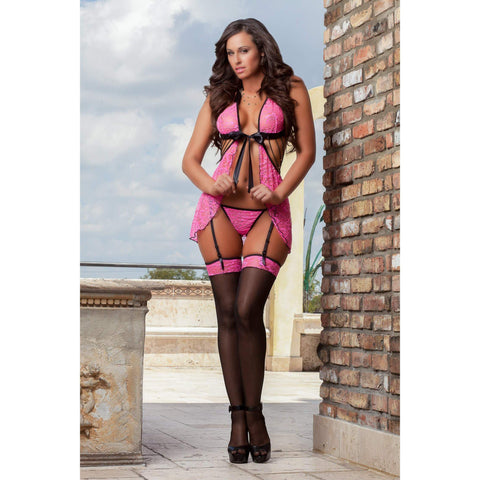 3pc Sexy Darling Babydoll & Stockings - One Size - Pink GWD-D1415PK