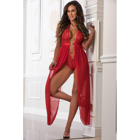 Zipper Crotch Teddy Gown - One Size - Red GWD-D1963RD