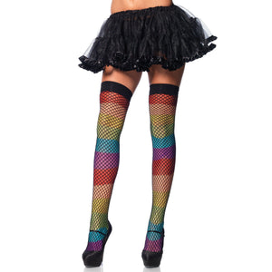 Rainbow Thigh Highs With Fishnet Overlay - One Size LA-9994