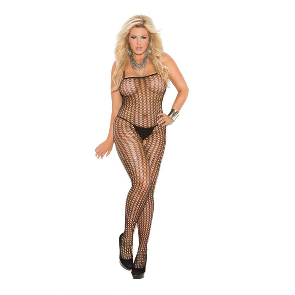 Crochet Body Stocking - Black - Queen EM-1614QB