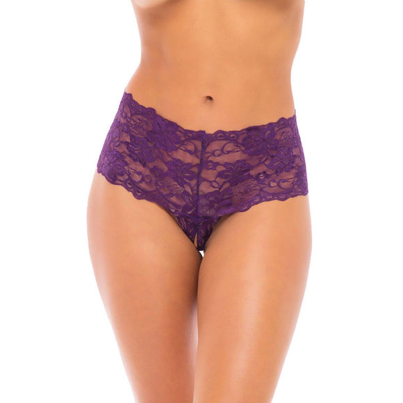 Good Night Kiss Boyshort With Elastic Detail - Grape Royale - S/m OH-2025-GRSM