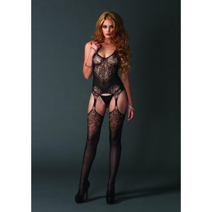 Lace Jacquard Suspender Bodystocking - One Size - Black LA-89175