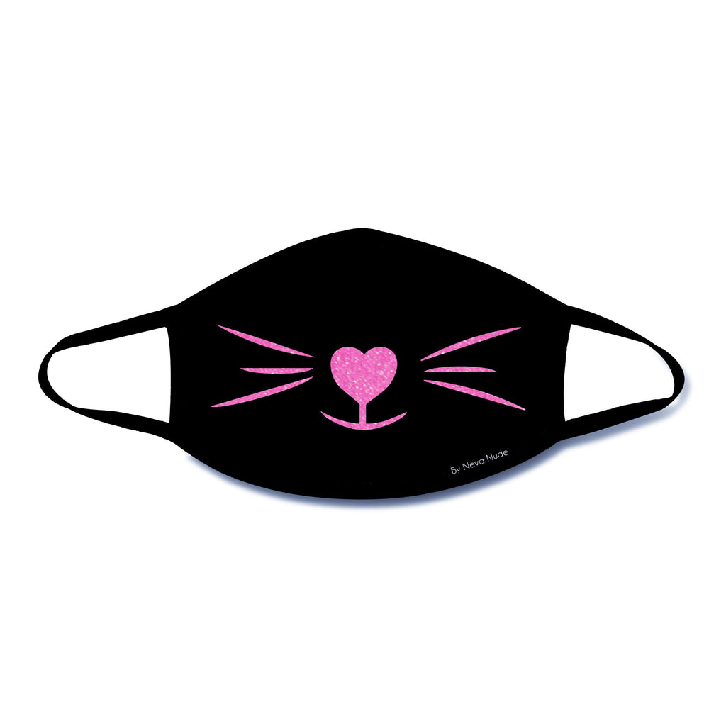 Meow-Za Pink Glitter Kitty Face Mask With Black  Trim NN-MSKM-KITBLA