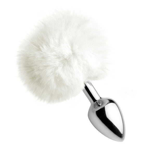White Fluffy Bunny Tail Anal Plug TZ-AF619