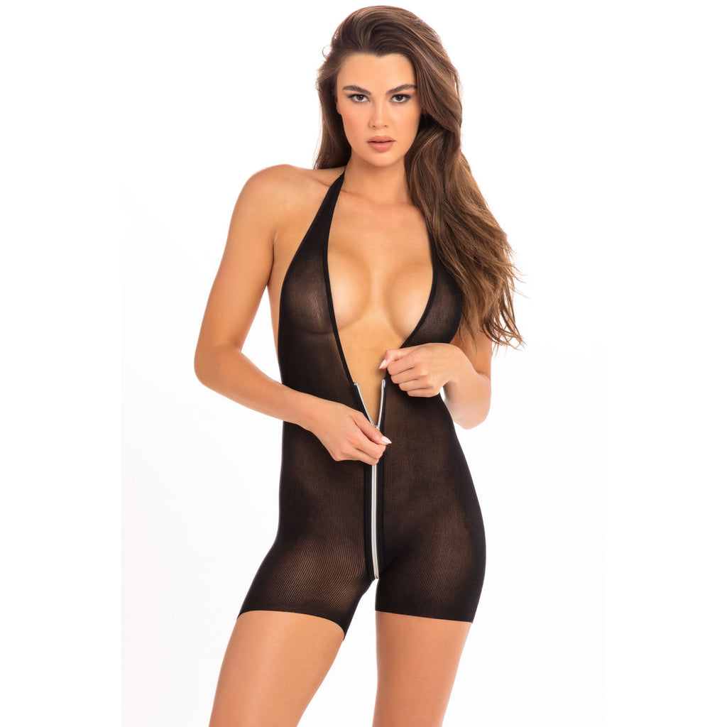Hot Short Zip Bodysuit - Black - S/m RR-7079BLKSM