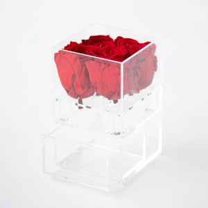 4 Roses with Drawer Preserved
