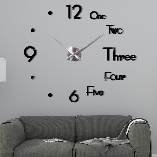 Large Wall Clock For Living Room Black / 27 Inch