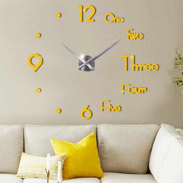 Large Wall Clock For Living Room Gold / 37 Inch