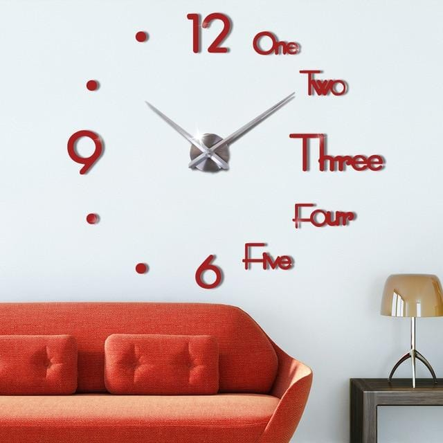Large Wall Clock For Living Room Red / 27 Inch