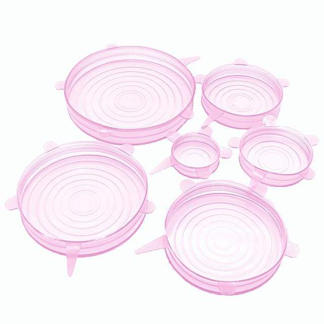 Reusable Silicone Stretch Lids (6 Pcs) Pink