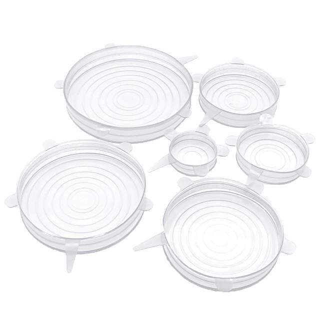 Reusable Silicone Stretch Lids (6 Pcs) White