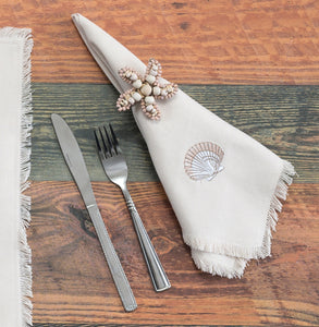 Coastal Embroidered Seashell Napkins