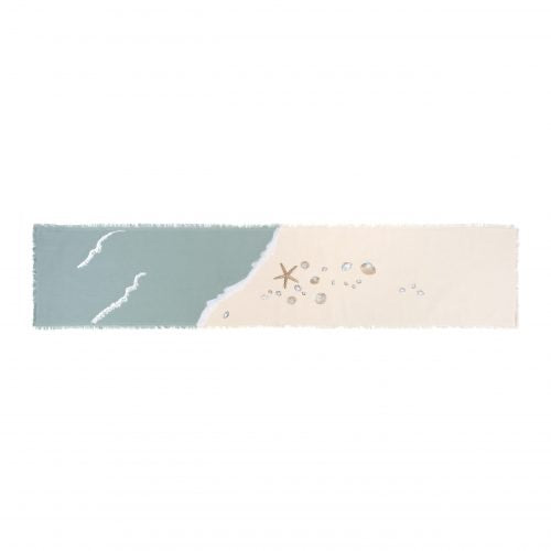 Coastal Embroidered Seashell Runner
