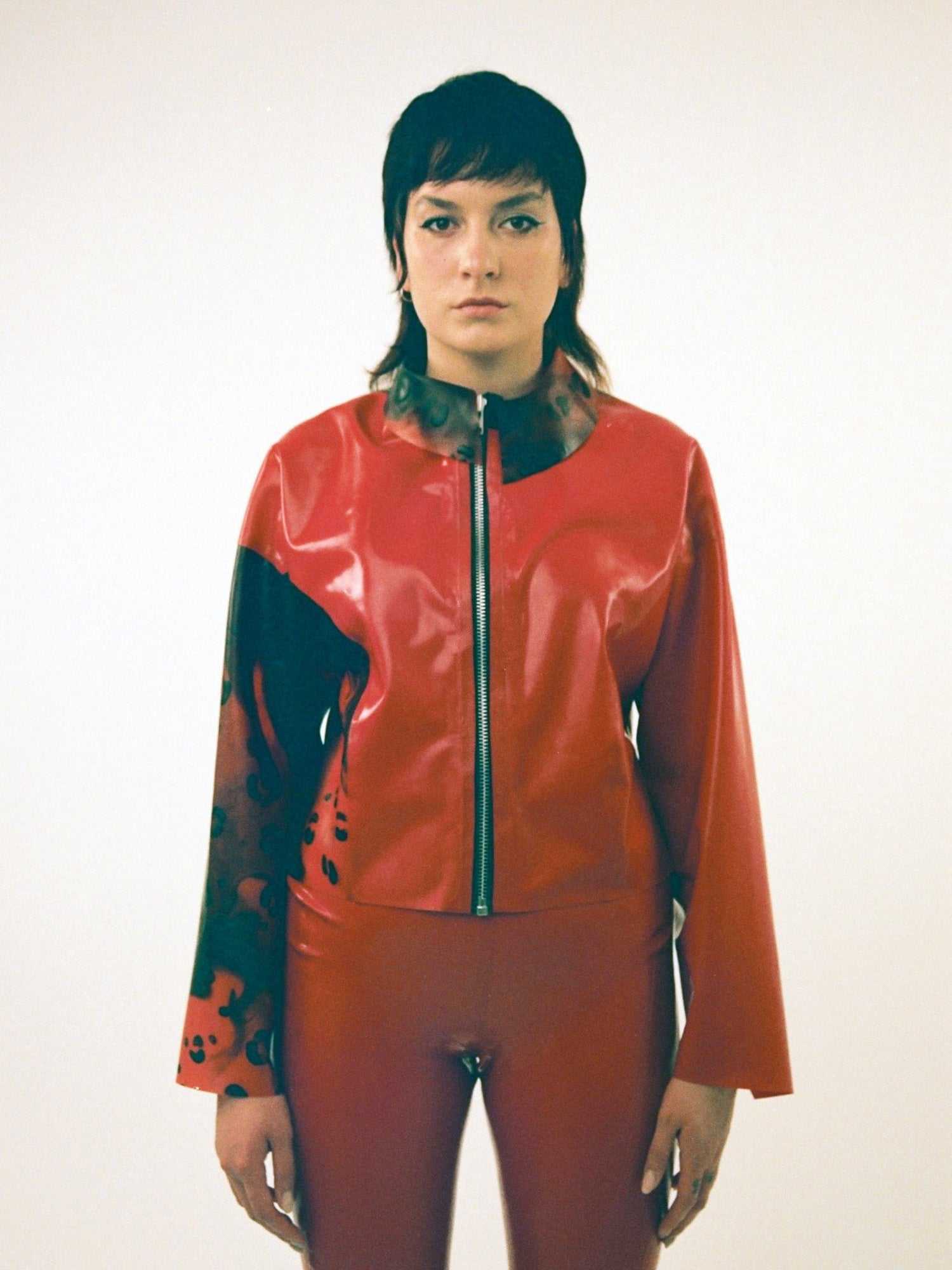 Studio Fclx Red Leopard Latex Jacket