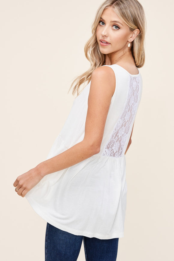 Ivory Baby Doll Top With Lace Detail on Back