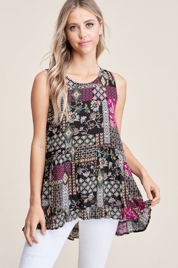 Patchwork Print Top