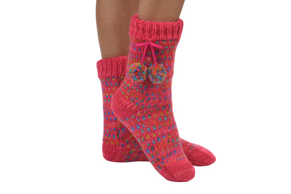 Snoozies-Pom Pom Sherpa Socks