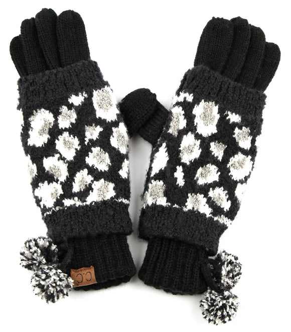 Leopard Jacquard Knit 2 in 1 Gloves
