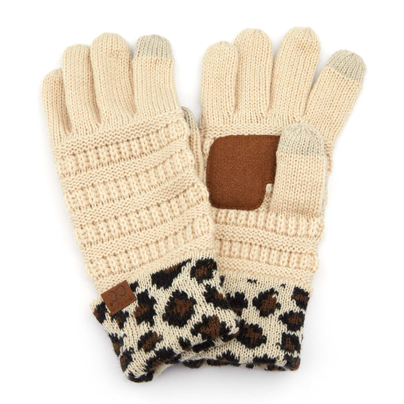 Ribbed Knit Glove with Leopard Pattern