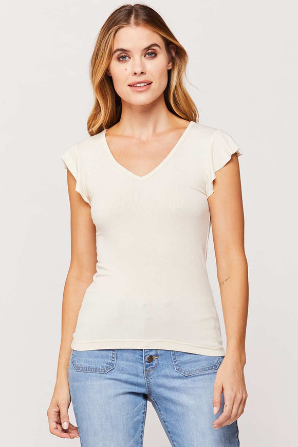 White Top With Flutter Sleeve