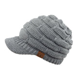 Ribbed Knit Hat with Brim