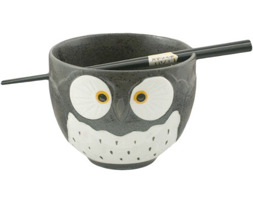 Owl Ramen Bowl With Chopsticks