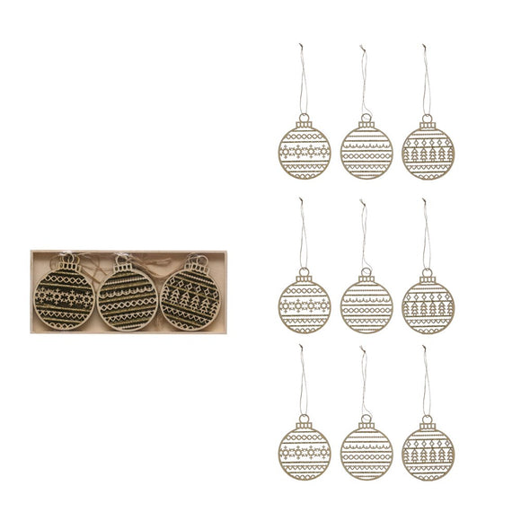 Wooden Ball Ornaments- Boxed