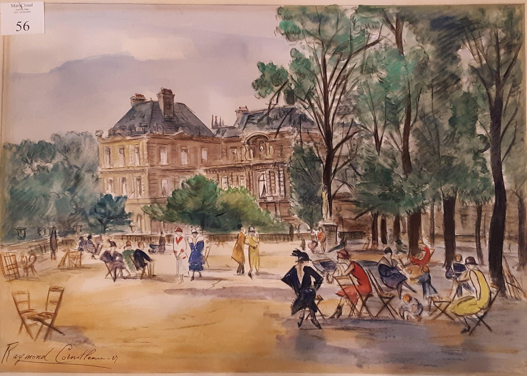 French Watercolor: City Scenery by Raymond Cornilleau (1887–1975)