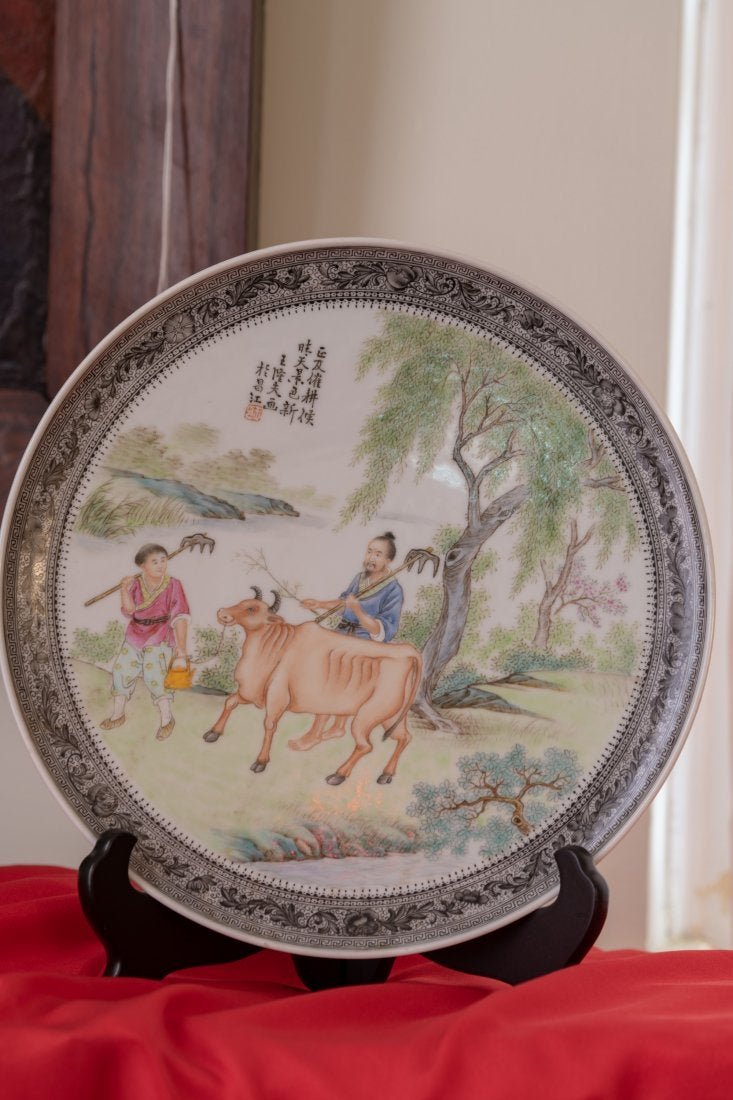 Hand-Painted Porcelain Plate by Wang Longfu (王隆夫)
