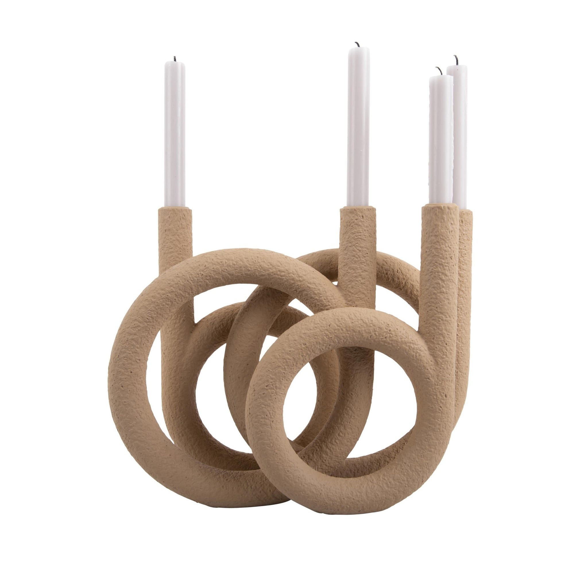 Candleholder Rings sand brown