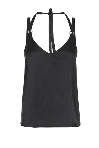 BLACK SILK CAMI TOP