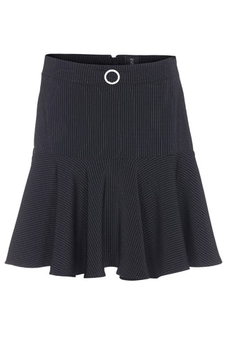 PINSTRIPED FLOUNCE SKIRT