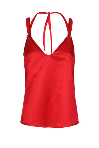RED SILK CAMI TOP