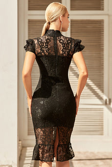 svart blonder bodycon kjole