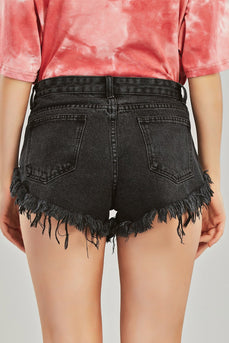 Revet detalj frayed trim denim shorts
