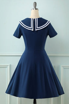 navy 1950 swing kjole