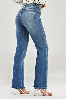 Blå Distressed Skater High RiseJeans