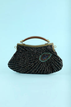 svart beaded kveld bag