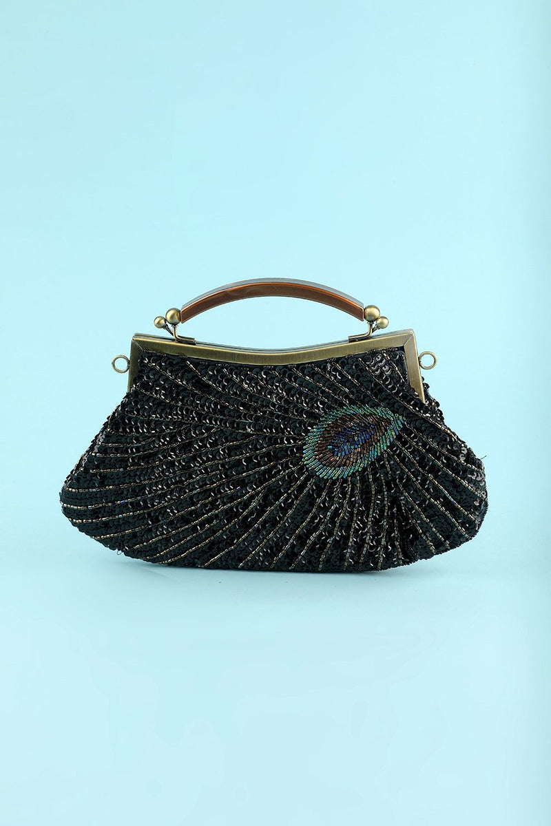 Load image into Gallery viewer, svart beaded kveld bag