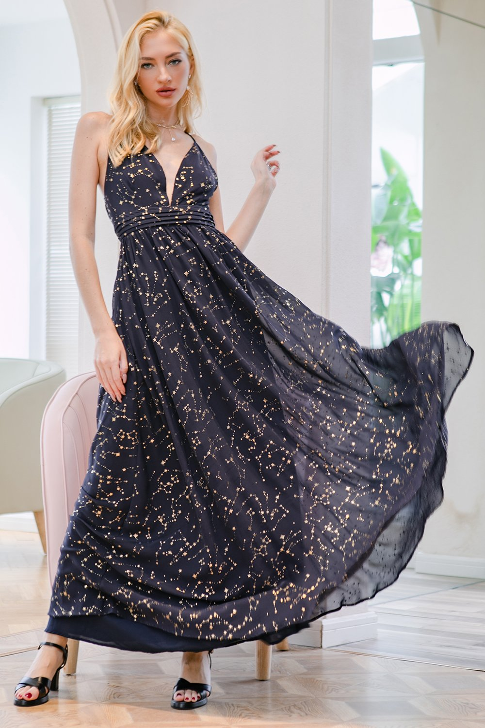 Glitter Navy V Neck Long Prom Dress