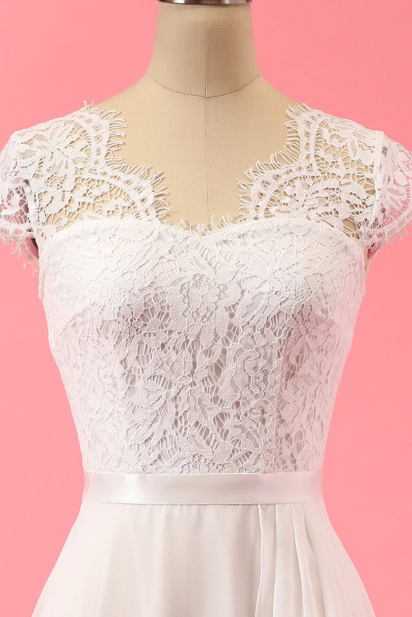 Load image into Gallery viewer, Formell Blonde Lace Ruffle Kjole