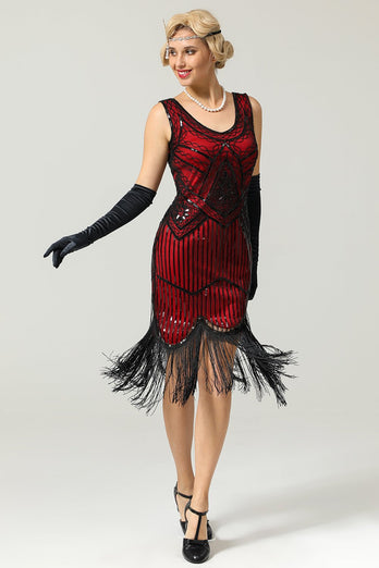 Red and Black Deep V Neck Flapper 1920 Dress