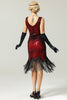 Load image into Gallery viewer, Red and Black Deep V Neck Flapper 1920 Dress