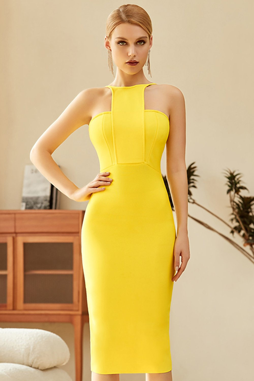 gul bodycon cocktail kjole