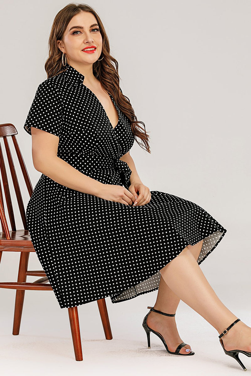 Load image into Gallery viewer, Plus Size Polka Prikker Swing Kjole