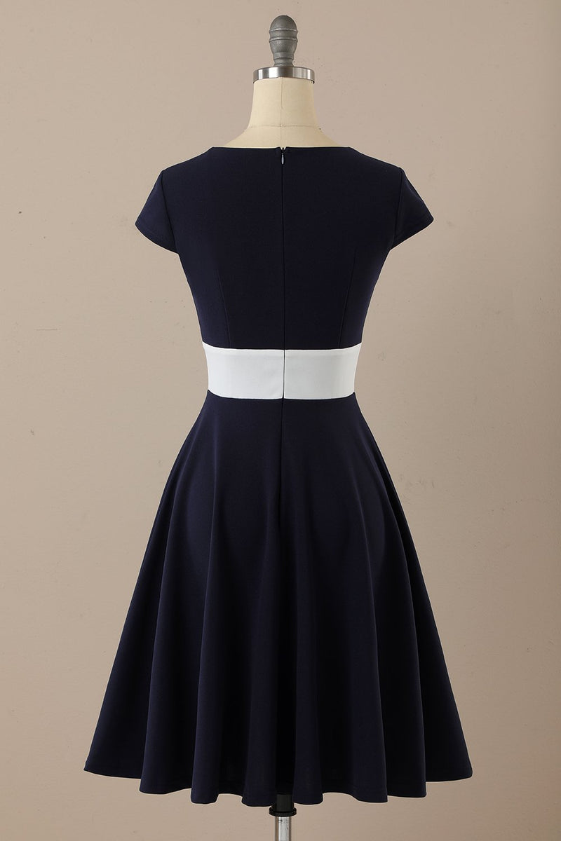 Load image into Gallery viewer, Navy Scoop 1950-tallet kjole med volanger