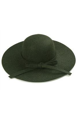 Khaki green floppy felt hat