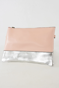 Pink and silver cross body faux leather bag