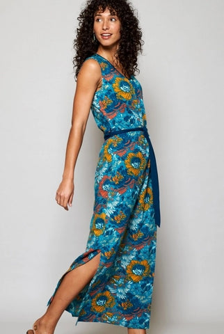 Nomads teal floral maxi dress available at Sleek Boutique Nantwich
