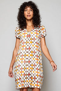 Nomads tangerine checked dress